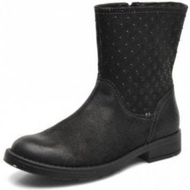 J Sofia A J44D3A Black Leather Girls Boot