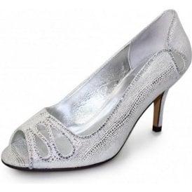 Rene FLR237 Silver Print Shoe with Diamante