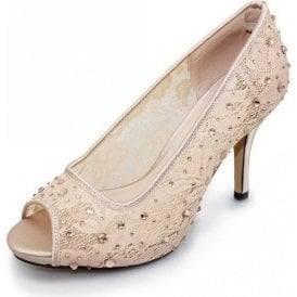 Rio FLR272 Nude Mesh Peep Toe Court Shoe with Diamontes