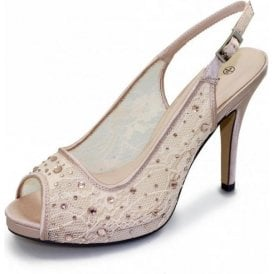 Porto FLR273 Nude Mesh Peep Toe Sling Back Shoe with Diamontes