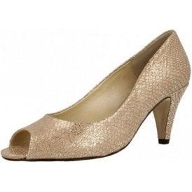 Walsingham Taupe Metallic Print Leather Court Shoe