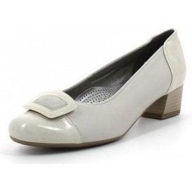 35859-05 Beige Patent Toe Cap Court Shoe