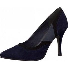 22429-25 Navy Multi Suede Court Shoe