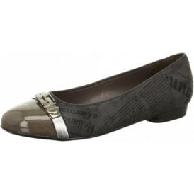 63374-05 Grey Patent With Grey Fabric Print Pump