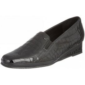 Rochester II Black Patent Wedge Shoe