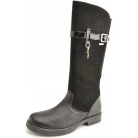 Aqua Feline Black Leather Waterproof Girls Boot