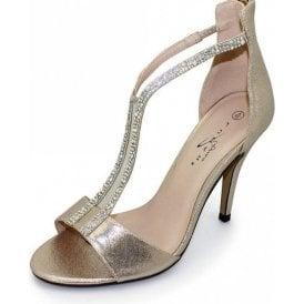Alexis FLR303 Gold Sandal With Diamantes