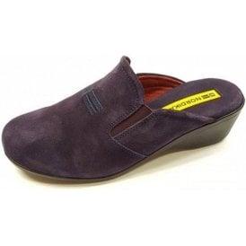 8192 Afelpado Purple Suede Leather Wedge Mule Ladies Slipper