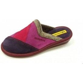 4507 Afelpado Purple Multi Suede Leather Mule Ladies Slipper