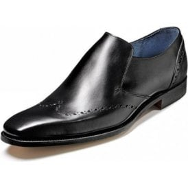 Bourne Black Calf Leather Slip On Shoe