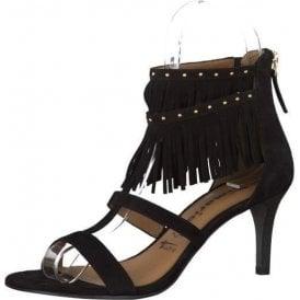 28346-26 Black Suede Leather Sandal