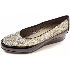 45030-97 Black Patent with Snake Print Wedge Shoe