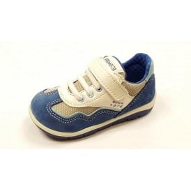 Win Blue Suede / White Leather Boy's Velcro Shoe