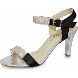 Petra JLH772 Black Sandal with Diamontes