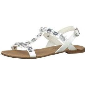 28159-26 White Sandal With Diamontes