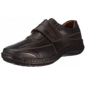 Alec Black Leather Velcro Shoe