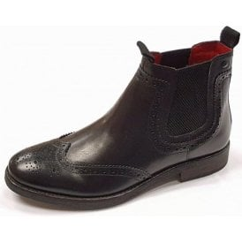 Southwark Black Leather Brogue Chelsea Boot