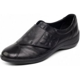 Rose Black Leather Velcro Shoe
