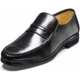 Fergal Black Leather Moccasin Slip On Shoe