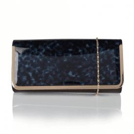 Camellia Navy Tortoiseshell & Black Shiny Clutch Bag
