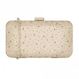 Lule Nude Microfibre & Diamante Clutch Bag