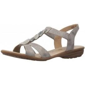 R3638-90 Grey Sandal With Diamonte Trim