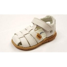 PPD 7078 White Leather Boy's Velcro Sandal