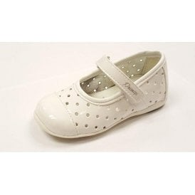 PHE 7107 White Patent Girl's Velcro Shoe