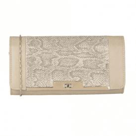Kamalei Beige Leather / Snake Print Clutch Bag