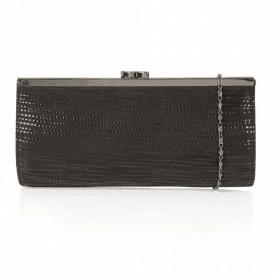 Clove Black Print Leather Clutch Bag