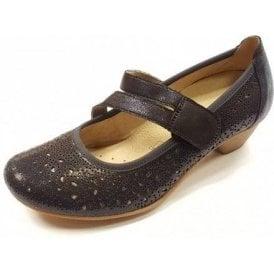 D5006-14 Navy Leather Velcro Shoe