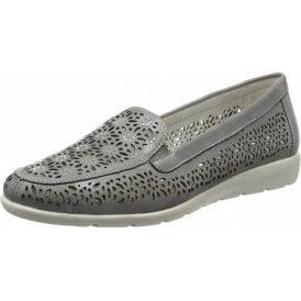 D1918-42 Grey Laser Cut Loafer Shoe
