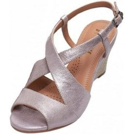Allora Bamboo Metallic Leather Wedge Sandal