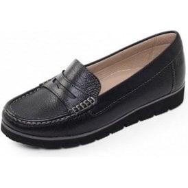 Nola Black Leather Moccasin Shoe