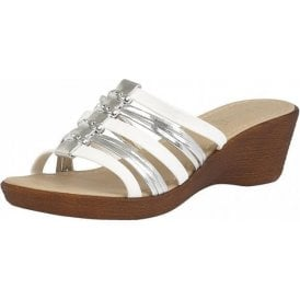 Elletra White & Platino Open-Toe Sandals