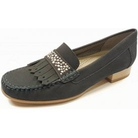 50171-02 Navy Nubuck Loafer Shoe With Studded Trim