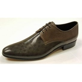 L-3984 Two Tone Grey Leather Lace Up Shoe