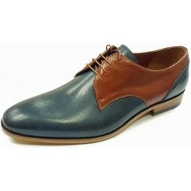 L-6091 Navy / Brown Leather Lace Up Shoe