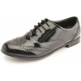 Matilda Black Patent Brogue Lace Up Shoe