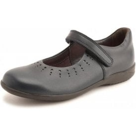 Mary Jane Navy Leather Girl's Shoe