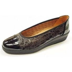 Petunia 76.402.97 Black Patent / Croc Pump Shoe