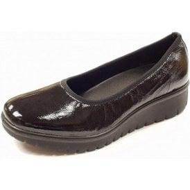 Varese N 09 Black Crinkle Patent Wedge Shoe