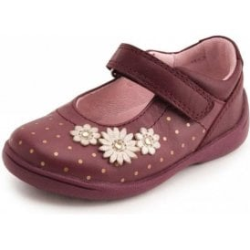 SR Supersoft Daisy Wine Leather With Gold Spots Girl's Shoe