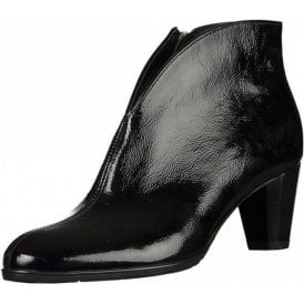 43408-76 Black Crinkle Patent Ankle Boot