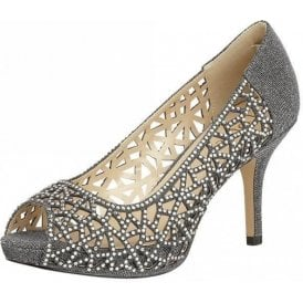 Flink Pewter Textile & Diamante Open-Toe Shoes