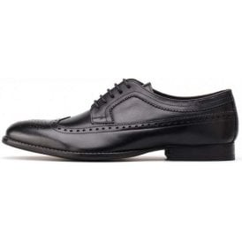 Bailey Waxy Black Leather Lace Derby Brogue Shoe