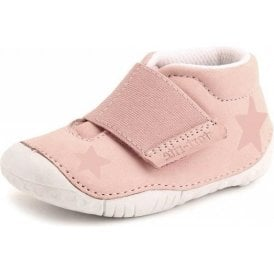 Baby Star Pink Nubuck Leather Girls Velcro Pre-walkers