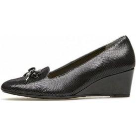 Culpeper Black Reptile Print Wedge Shoe