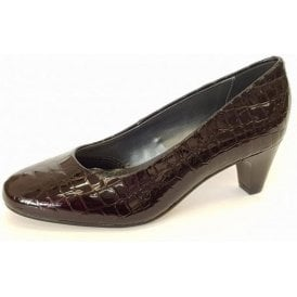 Jane Brown Patent Croc Court Shoe