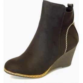 Pesaro GLC601 Black Synthetic Suede Wedge Ankle Boot